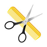 Crossed Scissors and Comb isolated on white barbershop hairdresser concept