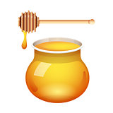 Honey glass jar vector with honey dipper isolated on white background. Fresh honey with a stick