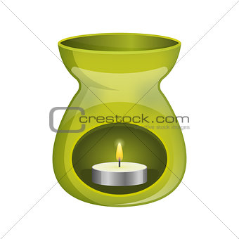 Green aromatherapy lamp oil burner spa icon flat.