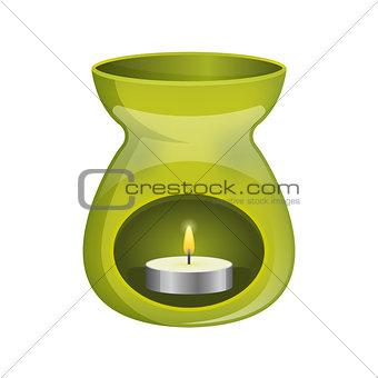 Green aromatherapy lamp oil burner spa icon flat.