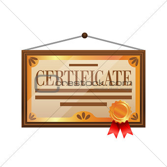Flat color certificate icon isolated on white background.