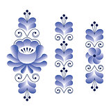 Russian folk art pattern - Gzhel ceramics style, blue floral long stripes