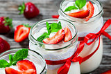 yogurt, strawberries, mint, selective focus