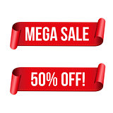 Mega Sale ribbon sign