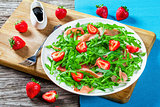 strawberry, arugula, ham salad with balsamic vinegar
