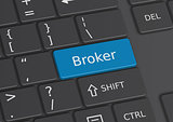 The word Broker written on the keyboard