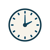 Blue vector clock icon, flat linear time sign