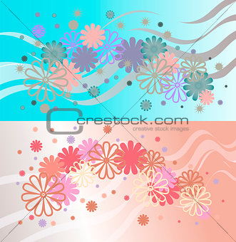 Bright background of multi-colored flowers and ribbons.