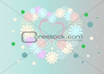 Bright background of multi-colored flowers in the form of a heart.