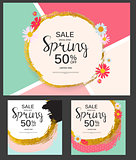 Abstract Design Spring Sale Banner Collection Set Template. Vect