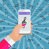 Playing music on your smartphone online from Internet. Vector Il