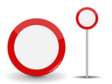 Prohibiting Travel Round Red Road Sign.Vector Illustration.
