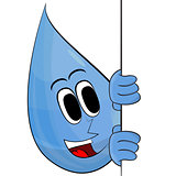 Happy Drop Of Water With Banner.