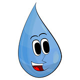 Happy Drop Of Water. Vector Illustration Retro Cartoon.