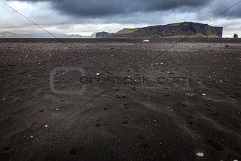 Blacksand beach in Iceland