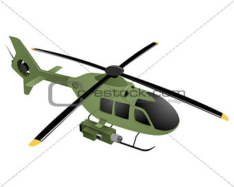 Green military helicopter