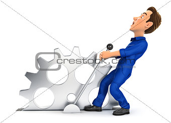 3d mechanic pulling a lever