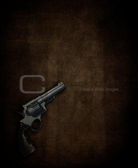 3D hand gun on grunge background