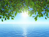 3D leaves against an ocean landscape