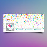 Social media timeline cover design with colourful confetti