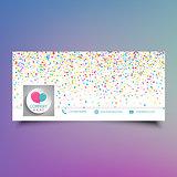 Social media timeline cover design with colourful confetti