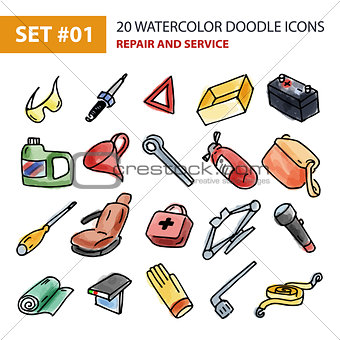Watercolor Icons Set - Repair and Service.