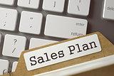 Index Card with Inscription Sales Plan. 3d.