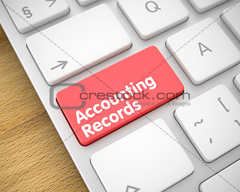Accounting Records - Inscription on the Red Keyboard Key. 3D.