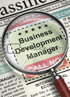 Business Development Manager Job Vacancy. 3D.