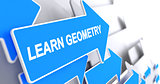Learn Geometry - Label on Blue Arrow. 3D.