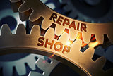 Repair Shop Concept. Golden Cog Gears. 3D Illustration.