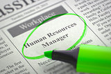Now Hiring Human Resources Manager. 3d.
