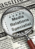 Job Opening Media Relations Specialist. 3D.