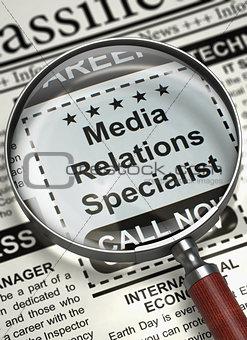Job Opening Media Relations Specialist. 3D.