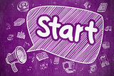 Start - Cartoon Illustration on Purple Chalkboard.