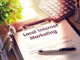 Local Internet Marketing on Clipboard. 3d.