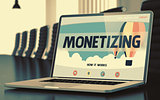 Landing Page of Laptop with Monetizing Concept. 3d.