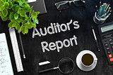 Auditor's Report on Black Chalkboard. 3D Rendering.
