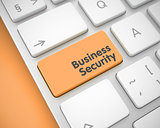 Business Security - Message on the Orange Keyboard Button. 3D.