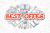 Best Offer - Doodle Red Inscription. Business Concept.