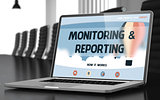 Laptop Screen with Monitoring and Reporting Concept. 3d.