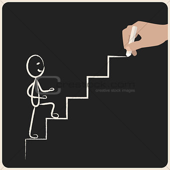 Business success climbing stairs drawing in chalk