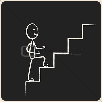 Business success climbing stairs in chalk icon