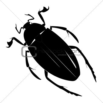 Black simple silhouette of a beetle on a white background