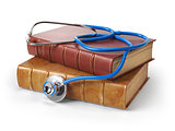 Stethoscope on medical books isolated on white, Medicine and med