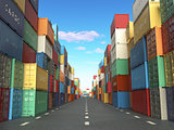 Cargo containers in shipping yard. Delivery shipping logistic im
