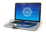 Stethoscope on laptop keyboard with error message on the screen.