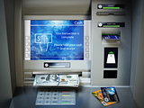 ATM machine, money cash and credit cards. Withdrawing dollar ban
