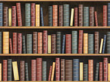 Vintage books on bookshelf. Old books tiled seamless texture bac