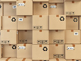 Cardboard boxes backgound. Delivery, cargo, logistic and transpo